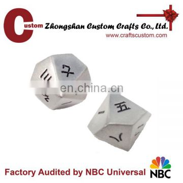 Custom 12sides chinese number metal playing dice