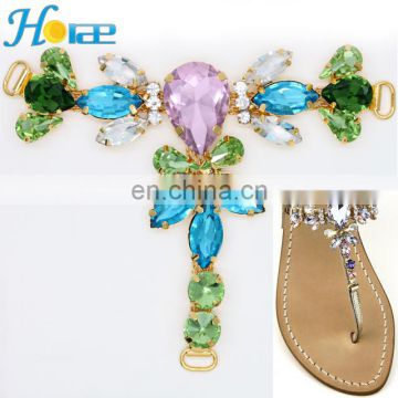 China Wholesale Fashion T Shape Colorful Rhinestone Crystals Sandal Shoes Ornaments
