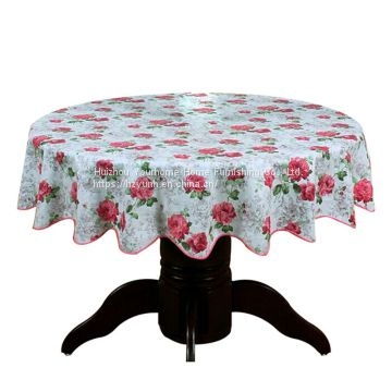 Factory supplying Flowers Printed Pastoral Round PVC Plastic Table Cover