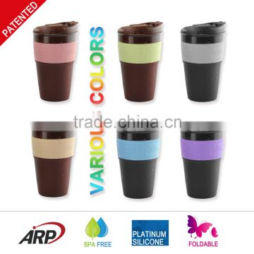Hot 350ML / 12OZ 2015 Innovative Collapsible travel coffee Mug, Silicone foldable coffee cup BPA free, FDA, LFGB                                                                         Quality Choice