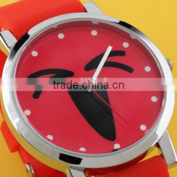 Brand New Red Face Wholesale Carton Girls Lovely Rubber Ladies Wrist Watches relogio Clock LD073