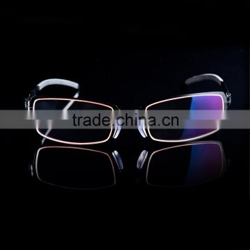 Korea Design Fashion Eyeglass Frame with Metal Temple Computer Glasses Yellow Lens Anti Radiation Glasses Retail Case Included