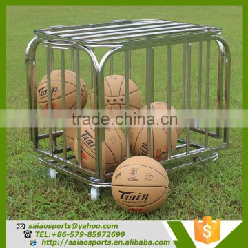 Gold supplier china Foldable basketball trolley , stainless steel cart with wheels For Storage Balls