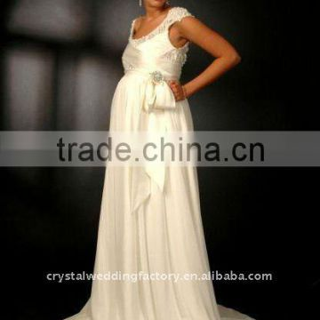 Cap sleeve beaded custom-made floor length maternity dress CWFam1503