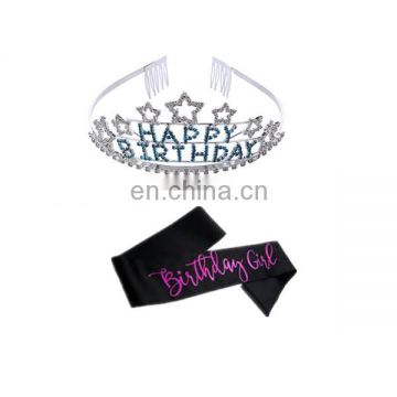 happy birthday party gilrs sash and tiara set