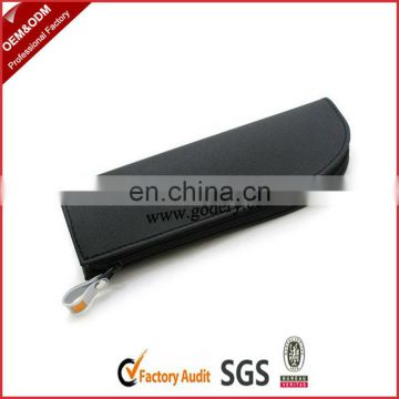 Black erectile PU leather pencil pouch