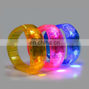 Led bracelet sound activated with flashing light button activated custom logo concert led bracelet