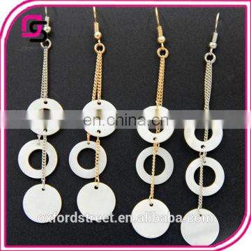 Han edition accessories wholesale minimalist stud earrings Bohemian tassel white shells multilayer female pendant earrings
