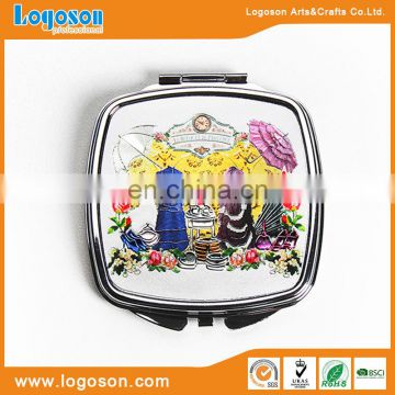 Promotional gift jeweled foldable souvenir cosmetic compact mirror