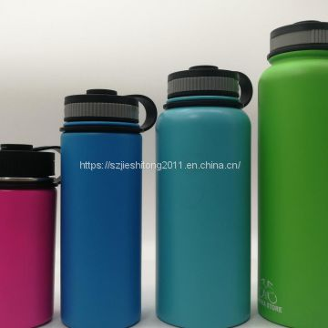 500ml 750ml stainless steel double wall vacuum sport water bottle with Black matte paint