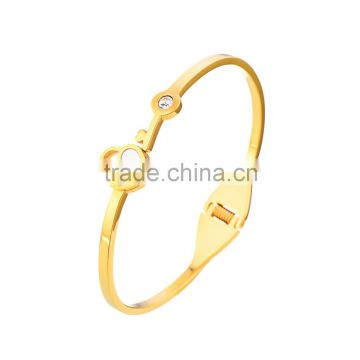 Stainless Steel Heart Lock Cuff Bracelet Rose/Yellow Gold Crystal Bangles