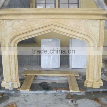 Indoor freestanding stone fireplace mantel with many colors valid