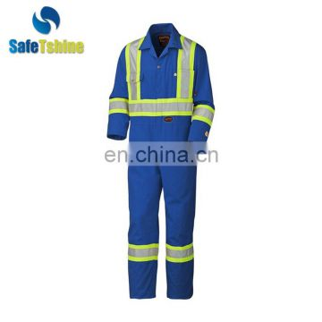 Professional blue Fire protective Safety reflective coveralls for men modacrylic