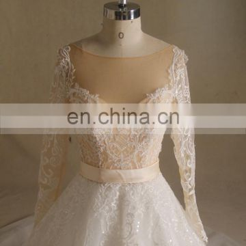 Gorgeous Special Lace Sweetheart Long Sleeve Wedding Gown With Long Train Lace up