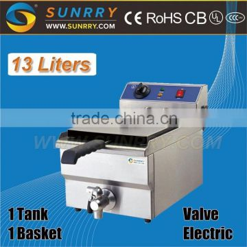 Deep potato peanut fryer one tank one basket with tap 13l restaurant equipment deep fryer (SY-TF113V SUNRRY)