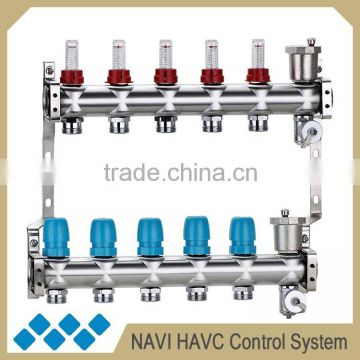 Brass manifold with intelligent circulation pump for underfloor heating manifold, air source heat pump water heating system