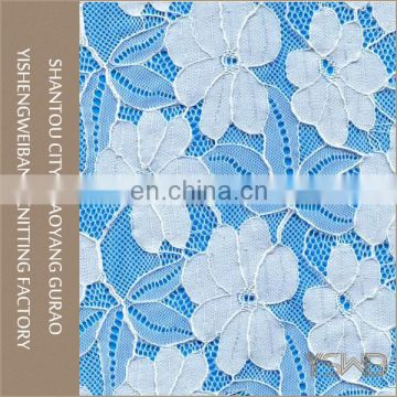 Custom elegant knitted mesh stretch 3d lace fabric