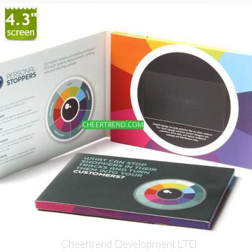 Business Gift Use and Paper Material 4.3 Inch LCD Video Brochure Card