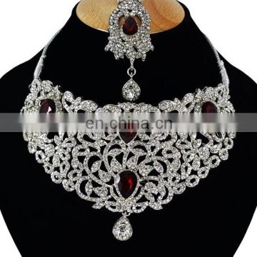 Voylla Intricate Silver Plated Indian Handmade Ethnic Kundan Zerconic Necklace set in Dark Red Color