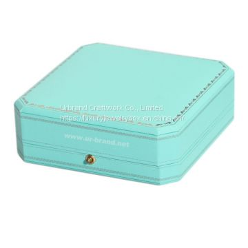 Wooden jewelry box covered with light green  special paper outside and hot stamping gold color logo.
