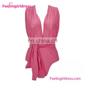 New Design Pink Fashion High Cup Sexy One Piece Swimsuit Woman