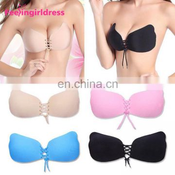 Women Push Up Self Adhesive Sexy Invisible Backless Strapless Bra