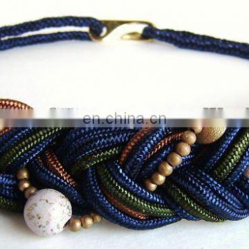 Beaded Woven Braided Cord Rope Stretch Belt