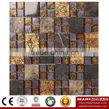 IMARK Mixed Color Mosaic by Gold Foil Glass Mosaic Tiles,Electroplated Mosaic Tiles and Rhinestone Mosaic Tiles Code IXGM8-093
