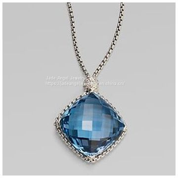 925 Sterling Silver DY 20mm Blue Topaz Cushion on Point Necklace