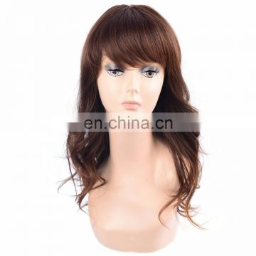hot sell cheap price brown mixed color all machine made synthetic wig for women