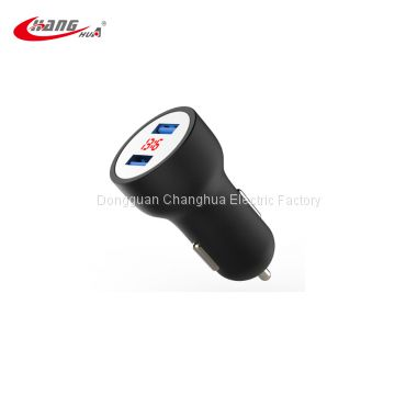 KISEKI Factory price 2019 new design Fast charger 5V led display usb universal travel car charger