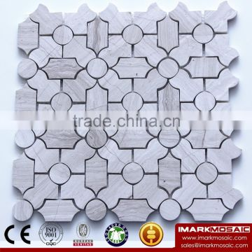 IMARK Premium Quality Water Jet White Wood Grain Marble Stone Mosaic Wall Tile