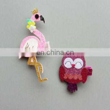 Glitter Flamingos Hair Clips Baby Owl Hair Bow Clippie Barrette For Girl Birthday Gift