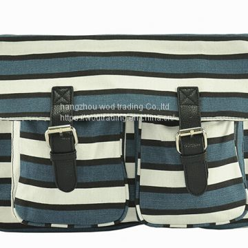 stripe printed messenger bag with 2 pockets and long shoulder