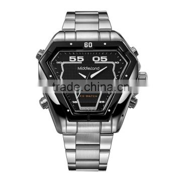 Fashion design trianjle shaped men stainless steel quartz