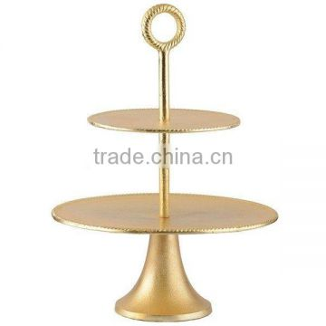 golden 2 tier wedding cake stand