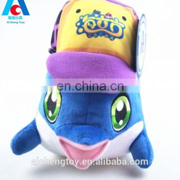 boys and girls birthday gifts small plush creative sailor dolphin toy with hat
