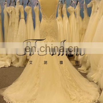 2017 Lastest Design Bridal Open Back Sweet Heart Neck Mermaid Lace Wedding Dress Tiamero 1A1084