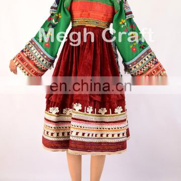 Handmade Balochi Tribal Ethnic Dress - Afghan Kuchi Silk Embroidered Tassels Frock -Ethnic Kuchi Banjara Coins Dress