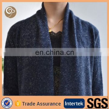 Shawl collar long knit cashmere sweater ladies