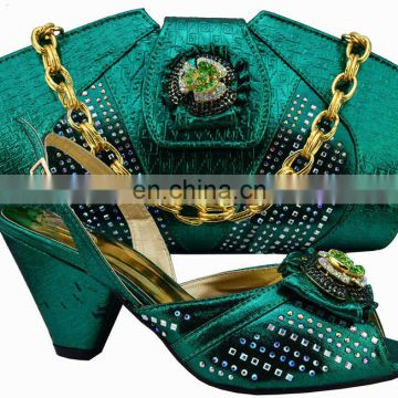 2016 New arrival TSH246 gold color lady Italian shoes matching bag set women shoes and bags