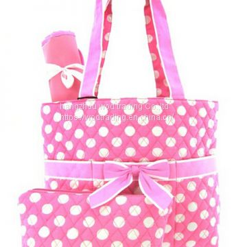 polka dot printed diaper bag with bow