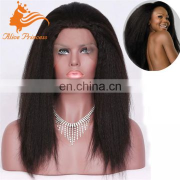 wholesale cheap human hair full lace wig kinky straight silk top wig With baby Hair glueless silk top full lace wig