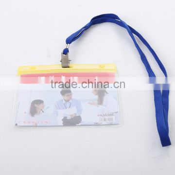 Transparent PVC visa card id card badge holder with lanyard