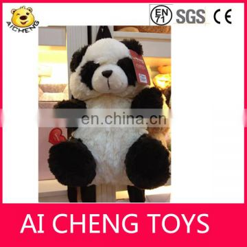 Lovely stuffed plush panda design backpack with high quality