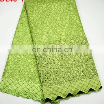 Top Quality Green cotton lace Hot Sale African style cotton dry lace , soft material cotton lace fabric for garment