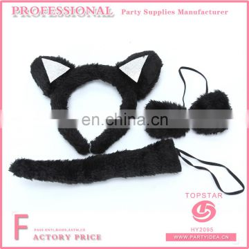 2017 New Design China Promotional Sexy Women Set Halloween Decoration Plush And Plastic Cat Ear Headband