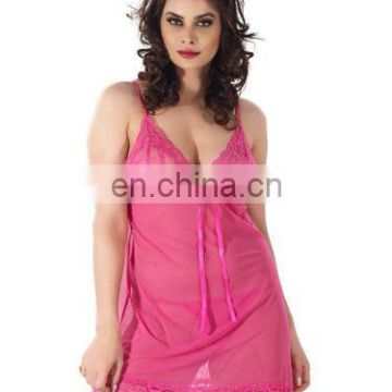 Shyle Women Pink Babydoll With Robe Nightwear-Pink
