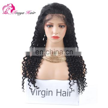 Hot Selling Wholesale Deep Wave Aliexpress 8a Grade Virgin Brazilian Human Hair Lace Front Wig With Pre Plucked Hair Line