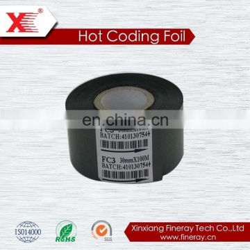 FINERAY 30mm*122m Hot Stamping Foil Rolls /Date Coding Ribbon for expiry printing